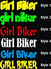 Bker Girl Decal.  Girl Biker Decal