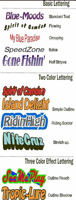 Styles to use for transom lettering