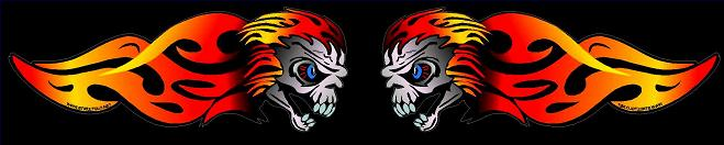 sparkey flame skull motorcycle decal