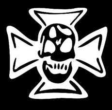 Maltese skull decal