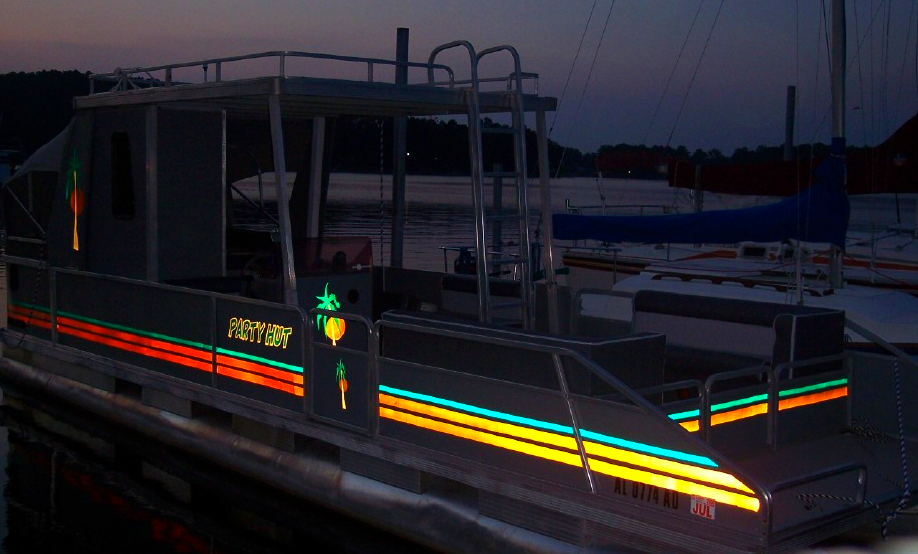 pontoon boat graphics and lettering upgrade with reflecive decorative stripes
