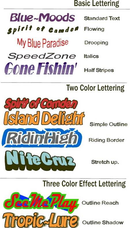 To Order Effects Vinyl Boat Names Signs Decals Lettering