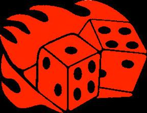 flaming dice decal