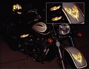 reflective motorcycle decals and graphics kits for bikers and safety.
