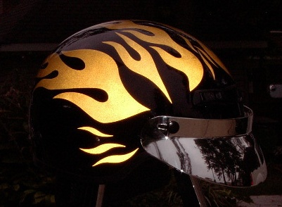 Streetglo Reflective Helmet Flame Decal And Helmet Flame